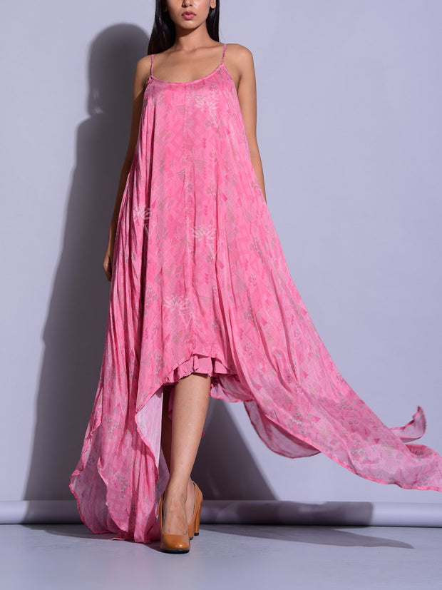 Pink Asymmetric Maxi Dress
