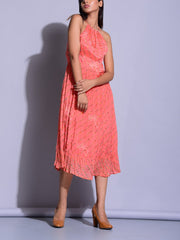 Peach Halter Nexk Dress