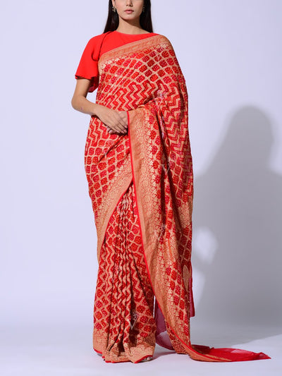 Saree, Sarees, Real zari, Bandhnai, Bandhej, Ghat chola, Gharchola, Pure georgette, Georgette, 100% georgette, Power loom, Handloom, , Dropship, _label_NEW