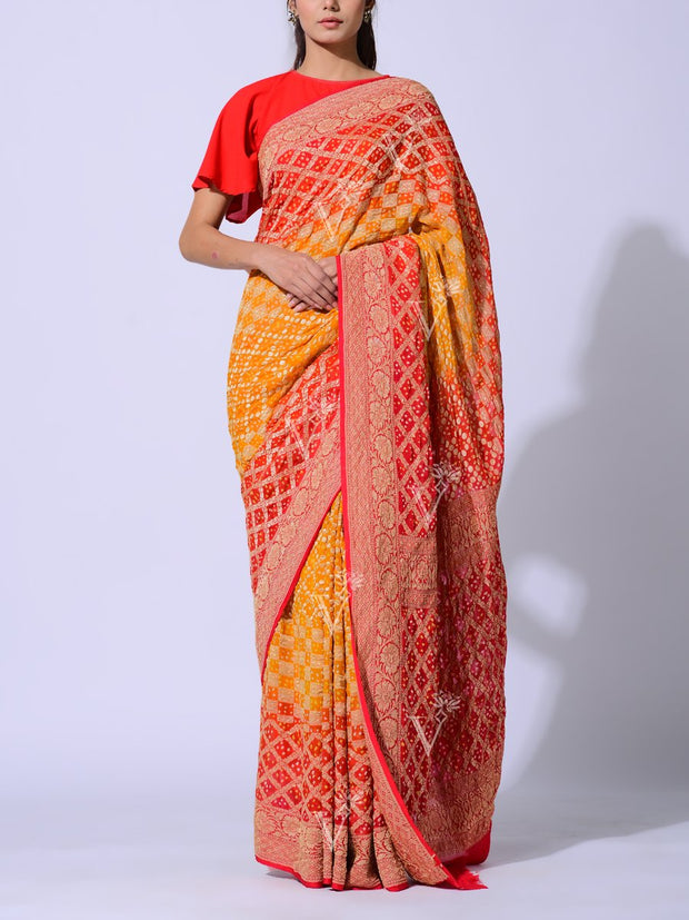 Yellow Red Shaded Pure Georgette Powerloom Saree