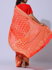 Orange Pure Georgette Powerloom Saree