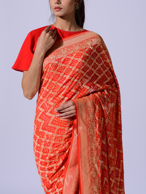 Orange Pure Georgette Zari Saree