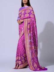 Purple Pure Georgette Zari Saree