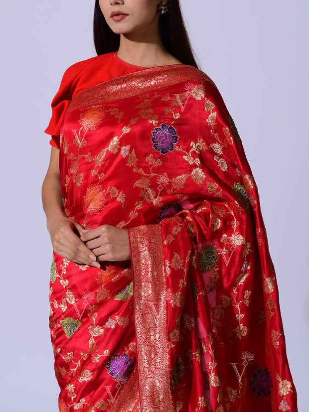 Red Dola Silk Weaving  Saree