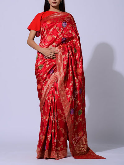 Saree, Sarees, Banarasi, Silk, Banarasi silk, Weaving, Handloom, Traditional, Traditional wear, Traditional outfit, Festive wear, Dropship, _label_NEW