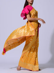 Yellow Pure Georgette Weaving  Saree