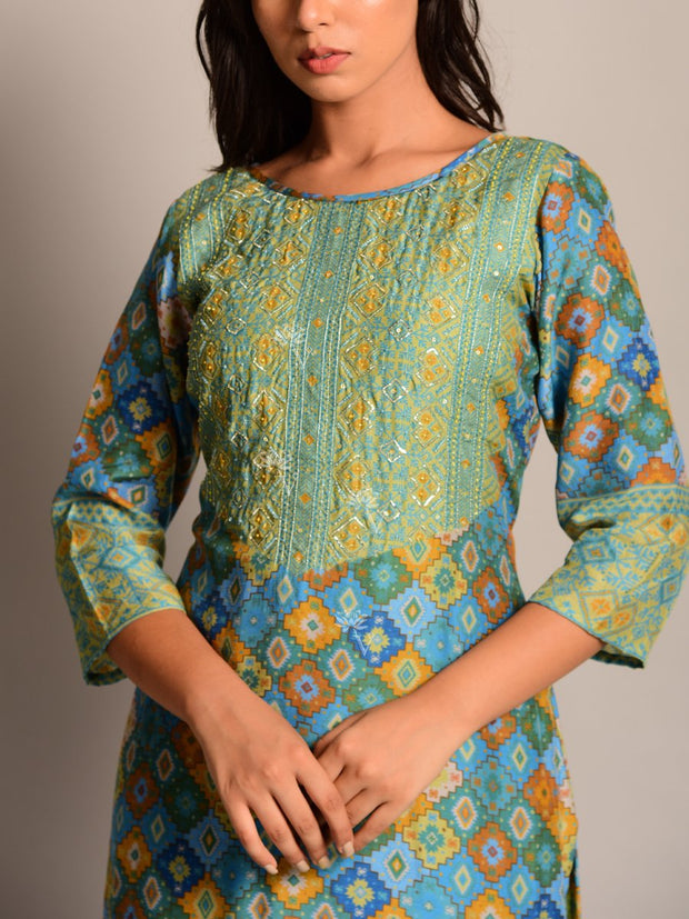 Green Printed Silk Kurta Set