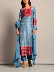 Blue Printed Suit Set