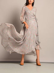 Silver Grey Asymmetric Dress