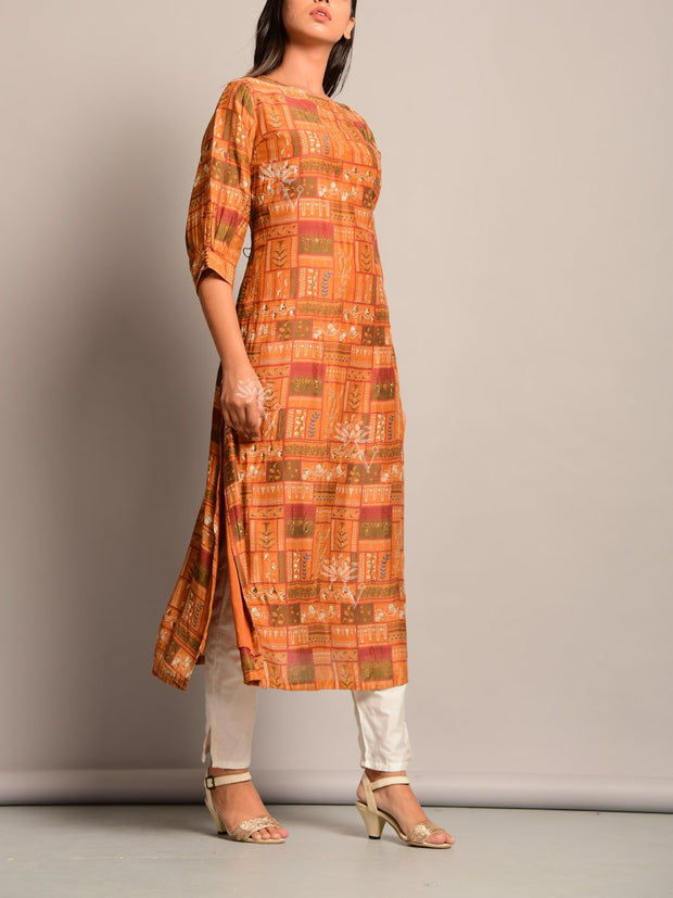 Brown Printed Cotton Kurti