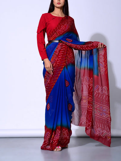 Red And Blue Pure Georgette Bandhej Saree