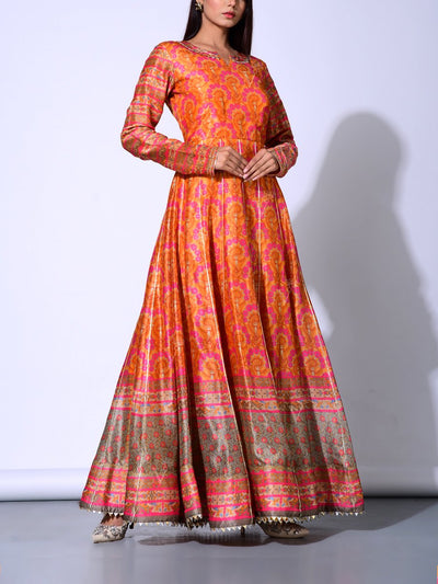 Peach Vasansi Silk  Anarkali Gown