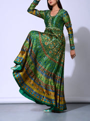 Bottle Green Vasansi Silk  Anarkali Gown