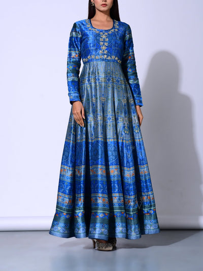 Turkish Blue Vasansi Silk  Anarkali Gown