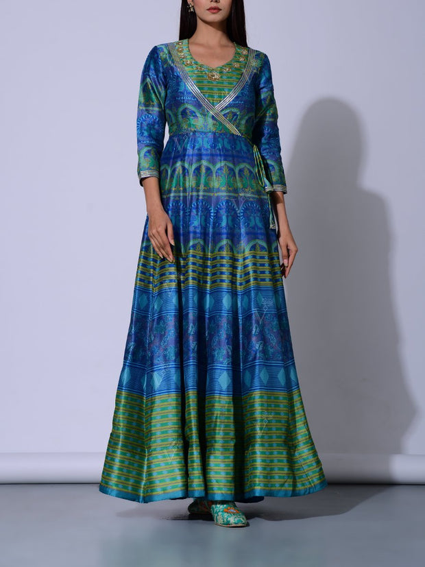 Green And Blue Vasansi Silk  Anarkali Gown
