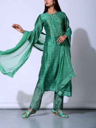 Basil Green Vasansi Silk  Suit Set