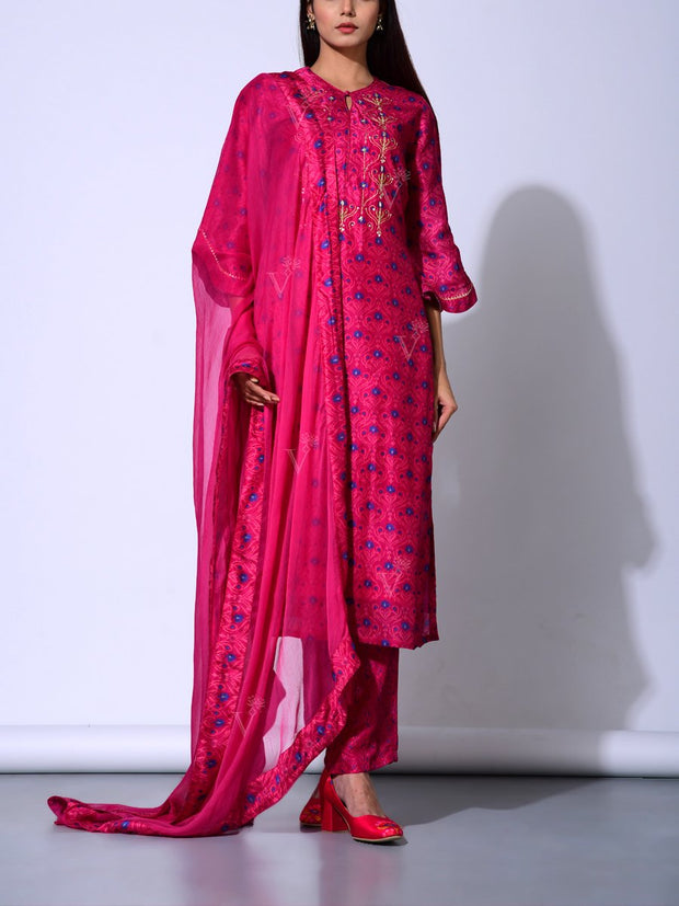 Magenta Vasansi Silk  Suit Set