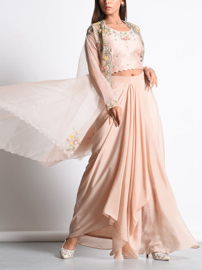 Champagne Dhoti Skirt With Embroidered Organza Jacket