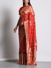 Red Georgette Real Zari Saree