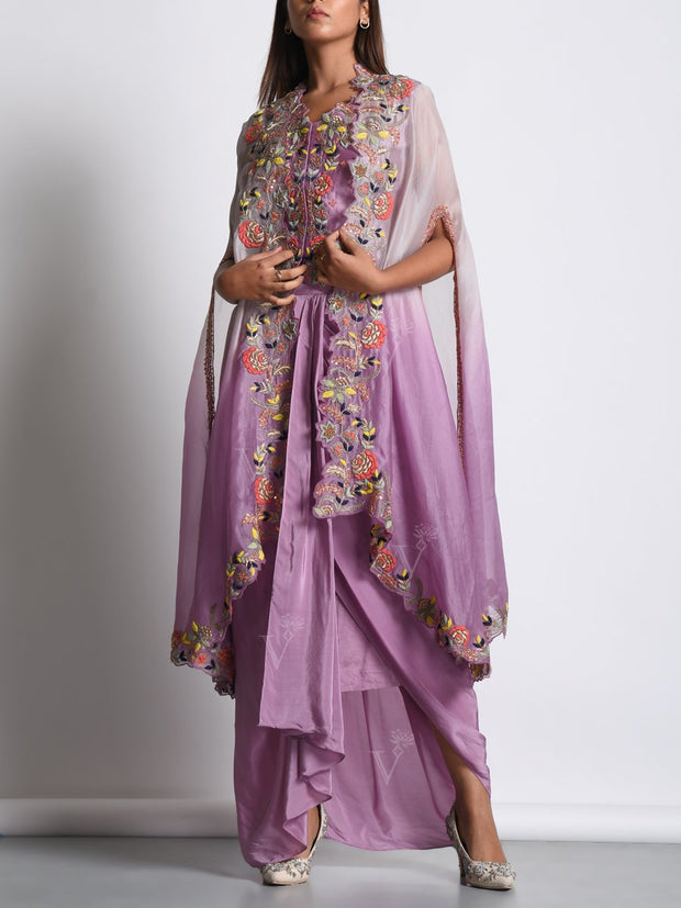 Light Purple Dhoti Skirt With Embroidered Organza Jacket