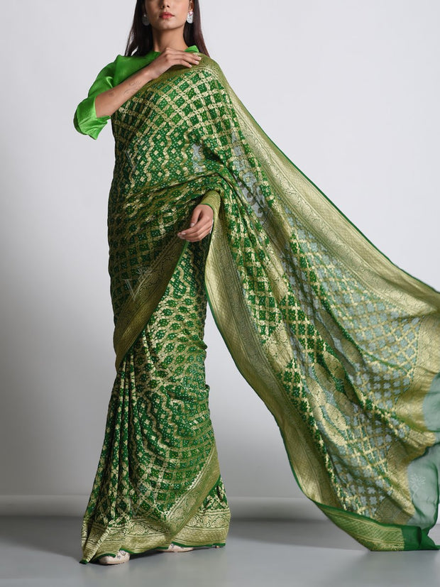 Bottle Green Georgette Real Zari Saree