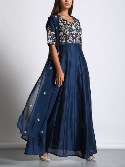 Navy Blue Chanderi Cotton Gown With Sheer Cape Jacket