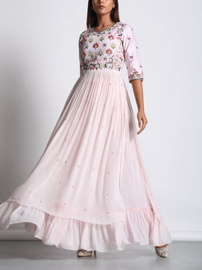 Powder Pink Georgette Embroidered Skirt Set