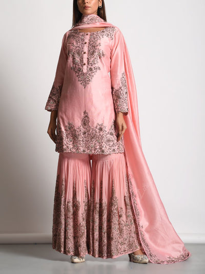 Peach Chanderi Embroidered Sharara Set