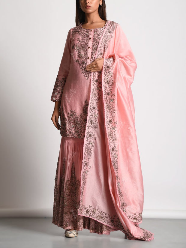 Sharara, Sharara set, Traditional Traditional outfit, Georgette, Chanderi, Party wear, Pastel, Embroidered, Embellished, DD00