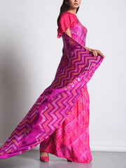 Purple And Pink Satin Bandhani Saree