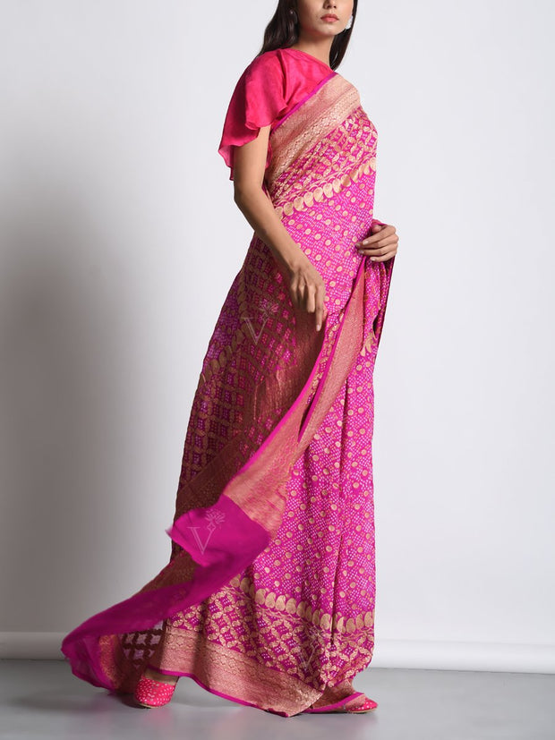 Magenta Pink Georgette Real Zari Saree