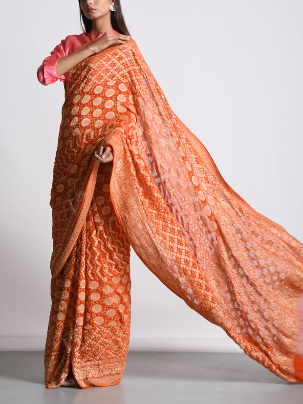 Orange Georgette Real Zari Saree