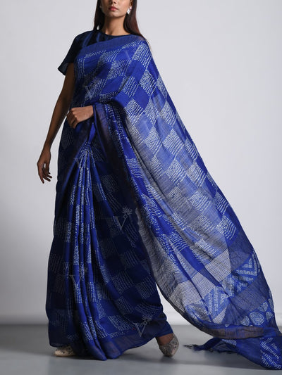 Royal Blue Tussar Bandhani Saree