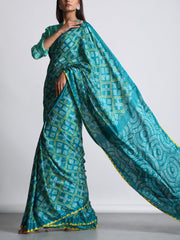 Sea Green Satin Bandhani Saree