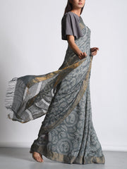 Grey Tussar Bandhani Saree