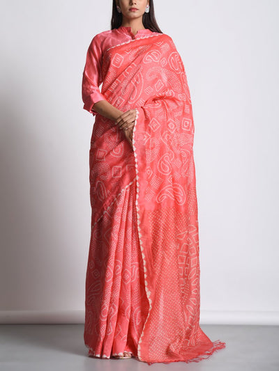 Peach Moonga Doria Bandhani Saree