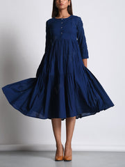 Dress, Tiered, Pure cotton, 100% cotton, Cotton, Western, Modern, Solid, Gathered, DD28, U2
