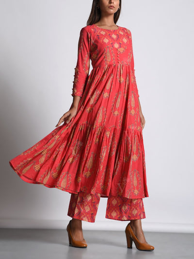 Red Cotton Printed Palazzo Set
