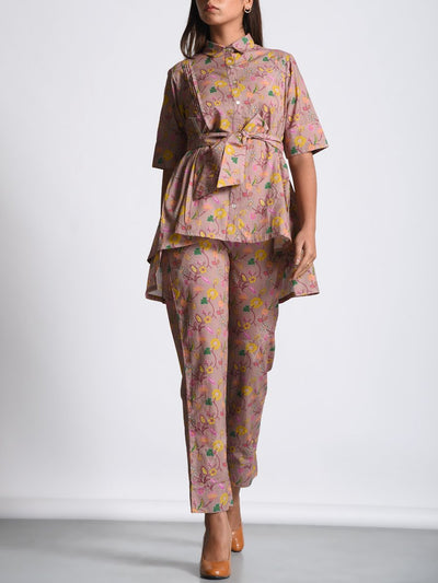 Old Rose High Low Cotton Printed Belted Pant Set