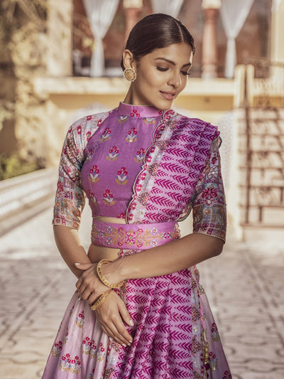 Lilac Ombre Silk Highlighted Lehenga Set