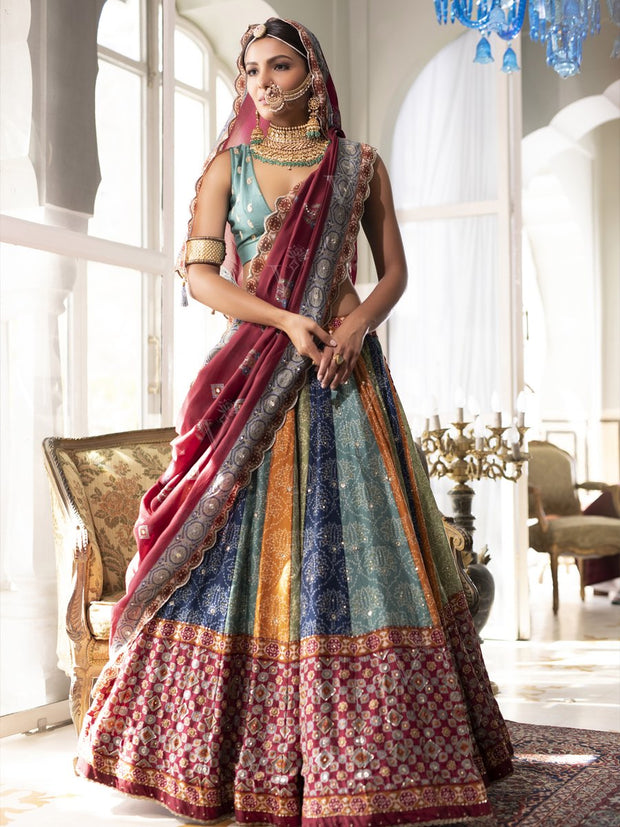 Multi Color Silk Lehenga Set