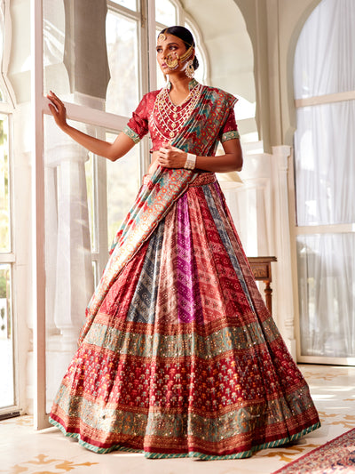 Lehenga, Lehengas, Lahanga, Lahenga, Lehenga set, Ghaghra choli, Chaniya choli, Traditional wear, Traditional, Traditional outfit, Printed, Highlighted, Lightweight, Navratri, Navratra, Bandhani, Bandhej, Rajasthani, Jaipuri, Multi kali, Kalidaar, DD45, B2