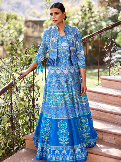Gown, Gowns, Anarkali, Anarkalis, Traditional, Traditional wear, Traditional outfit, Printed, Printed gown, Floor length, Floral motifs, Jacket, Short jacket, Highlighted, Lightweight, DD45, B2