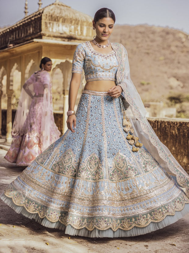 Sea Blue Embellished Lehenga Set