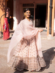 Light Peach Georgette Printed Anarkali Gown