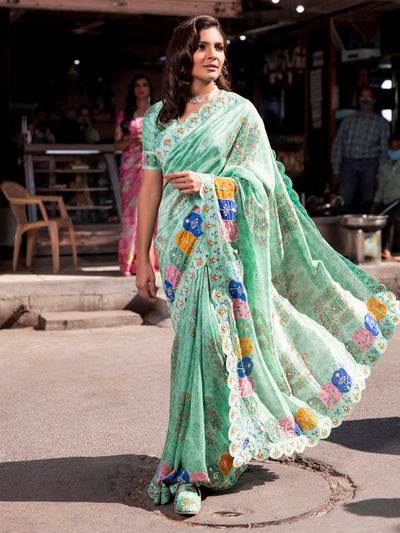 Sea Green Printed Saree