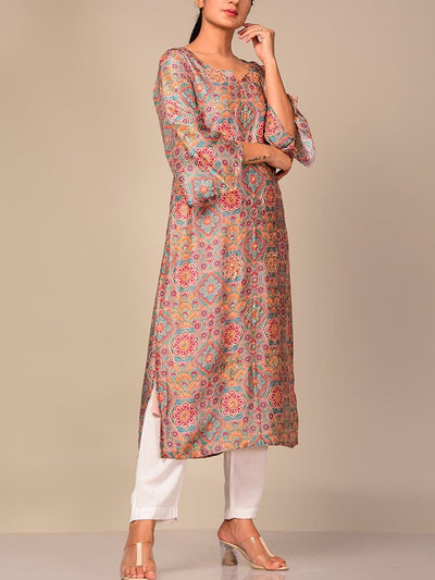Light Beige Printed Kurti