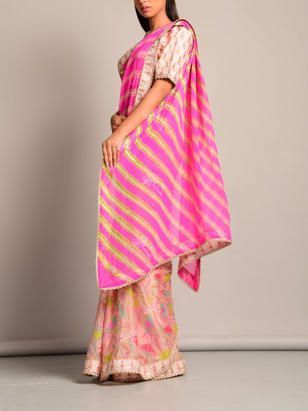 Peach Leheriya Printed Chiffon Saree