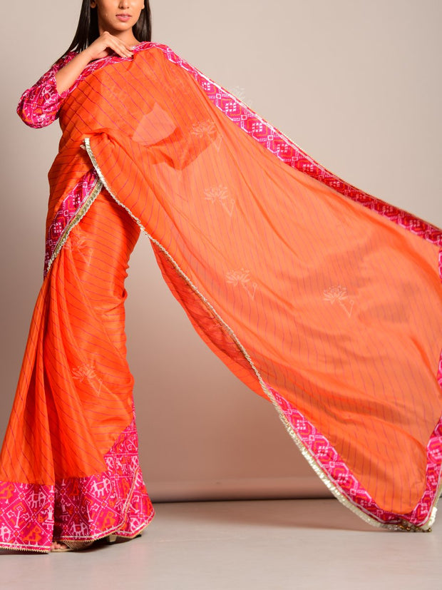 Orange Leheriya Printed Chiffon Saree