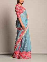 Blue Leheriya Printed Chiffon Saree